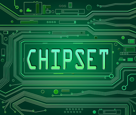 chipset: Abstract style illustration depicting printed circuit board components with a chipset concept.