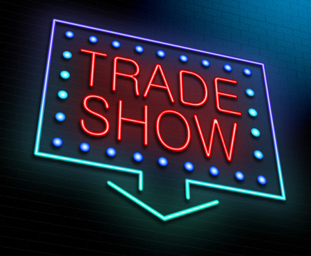 trade show: Illustration depicting an illuminated neon sign with a trade show concept.