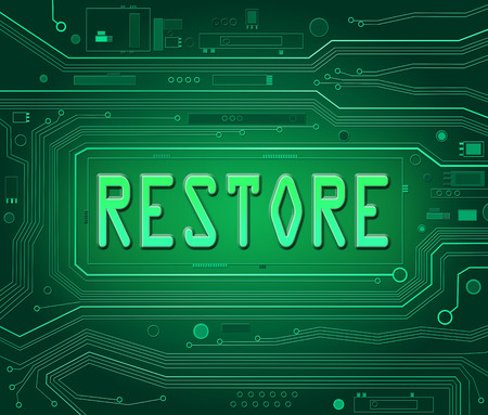restore: Abstract style illustration depicting printed circuit board components with a restore concept.