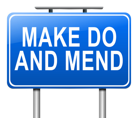 amend: Illustration depicting a road sign with a make do and mend concept.