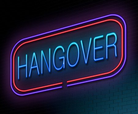 inebriated: Illustration depicting an illuminated neon sign with a hangover concept.
