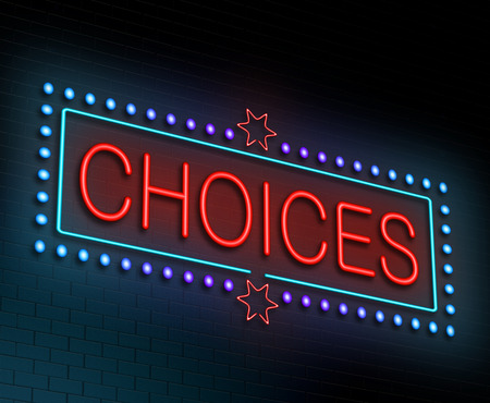 Illustration depicting an illuminated neon sign with a choices concept.