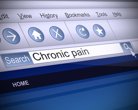 screenshot: Illustration depicting a screenshot of an internet search with a chronic pain concept.