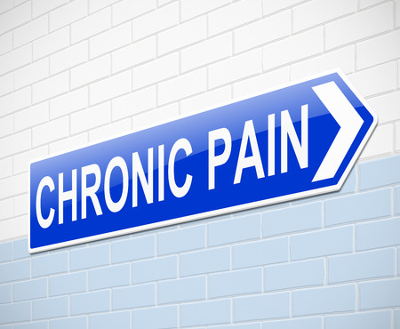 long term: Illustration depicting a sign with a chronic pain concept.