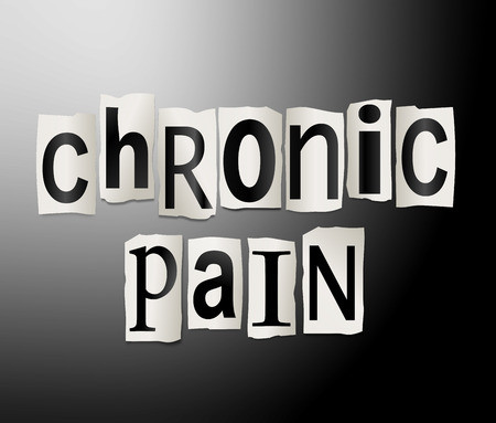 chronic: Illustration depicting a set of cut out printed letters arranged to form the words chronic pain. Stock Photo