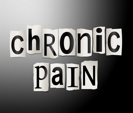Illustration représentant un ensemble de lettres imprimées découpées agencé pour former les mots de la douleur chronique. Banque d'images