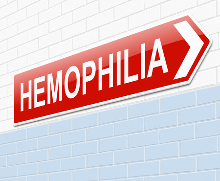 coagulation: Illustration depicting a sign with a  Hemophilia.