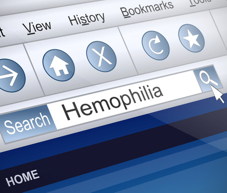 hemophilia: Illustration depicting a screenshot of an internet search with a Hemophilia concept.