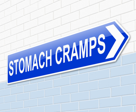 cramping: Illustration depicting a sign with a stomach cramps concept.