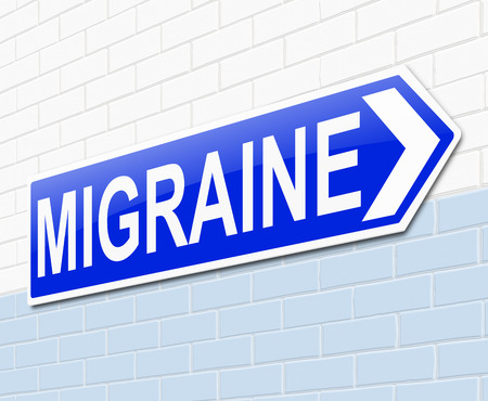 treating: Illustration depicting a sign with a migraine concept.