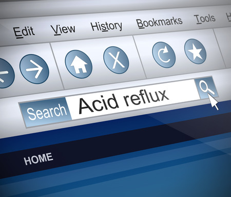 acid reflux: Illustration depicting a screenshot of an internet search with an acid reflux concept. Stock Photo