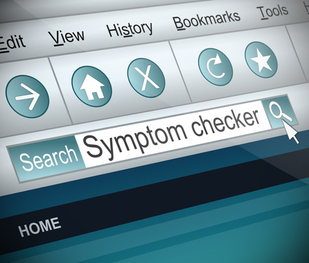 computer virus: Illustration depicting a screenshot of an internet search with a symptom checker concept.