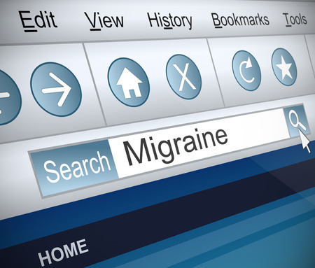 screenshot: Illustration depicting a screenshot of an internet search with a migraine concept.