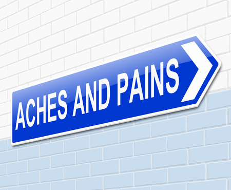 pains: Illustration depicting a sign with an aches and pains concept.