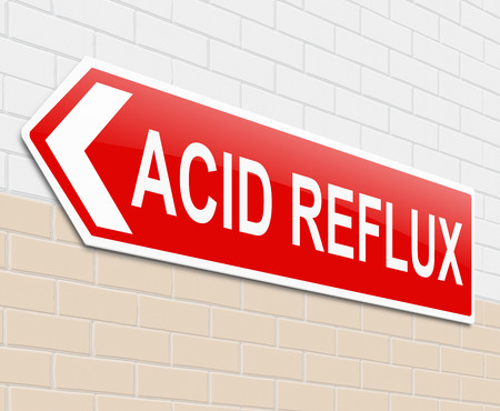 heartburn: Illustration depicting a sign with an acid reflux concept.