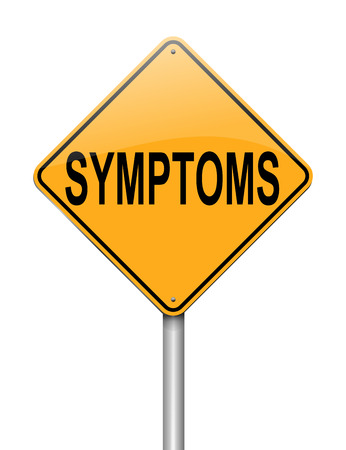 debility: Illustration depicting a sign with a symptoms concept.