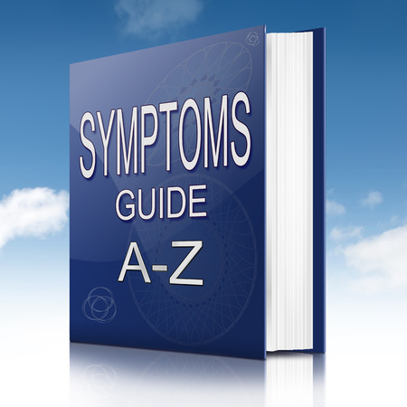 Illustration depicting a text book with a symptoms concept.