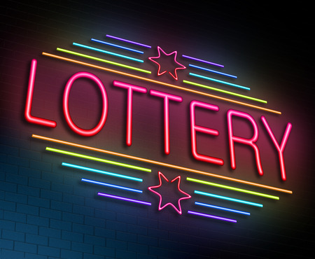 lottery: Illustration depicting an illuminated neon sign with a lottery concept.