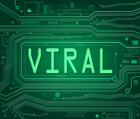 widely: Abstract style illustration depicting printed circuit board components with a viral concept. Stock Photo