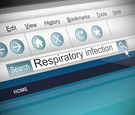 Illustration depicting a screenshot of an internet search with a respiratory infection concept. illustration