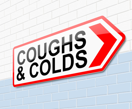 Illustration depicting a sign with a coughs and colds concept. illustration