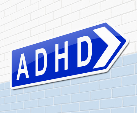 adhd: Illustration depicting a sign with an ADHD concept.
