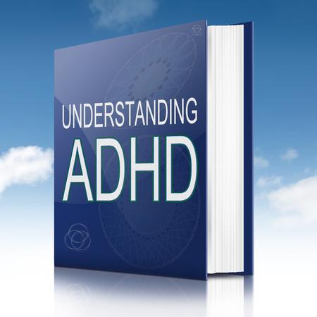 ADHD コンセプト タイトルのテキスト本を描いたイラスト。空の背景。 写真素材