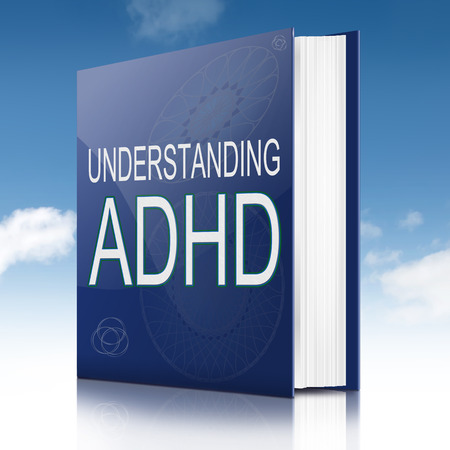 Illustration depicting a text book with an ADHD concept title. Sky background.