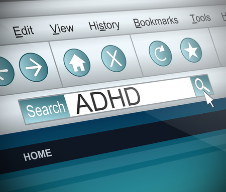 adhd: Illustration depicting a screenshot of an internet search with an ADHD  concept. Stock Photo