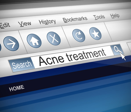 Illustration depicting a screenshot of an internet search with an acne treatment words illustration