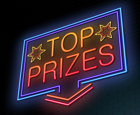 lucky money: Illustration depicting an illuminated neon sign with a top prizes words Stock Photo