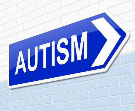 autism: Illustration depicting a sign with an Autism word