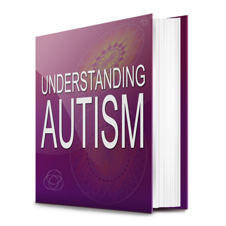 autism: Illustration depicting a text book with an Autism concept title
