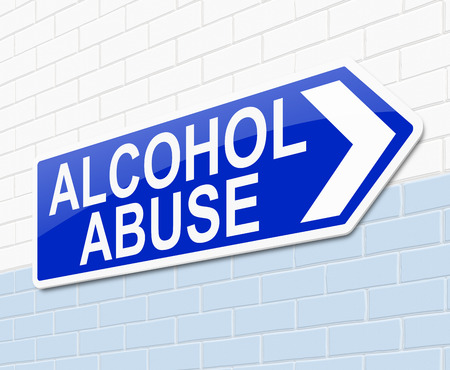 alcohol abuse: Illustration depicting a sign with an alcohol abuse concept