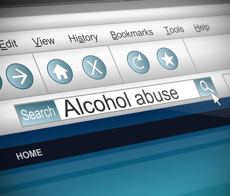 alcohol abuse: Illustration depicting a screenshot of an internet search with an alcohol abuse words Stock Photo