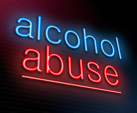 substances: Illustration depicting an illuminated neon sign with an alcohol abuse words Stock Photo