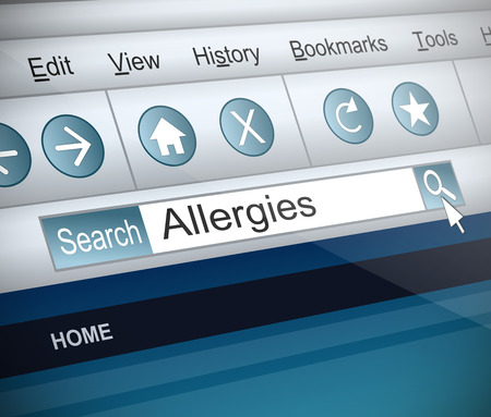 allergic reactions: Illustration depicting a screenshot of an internet search with an allergies word