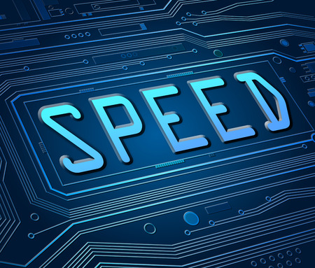 high speed internet: Abstract style illustration depicting printed circuit board components with a speed concept.