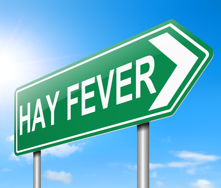 allergic reactions: Illustration depicting a sign with a Hay fever concept. Stock Photo