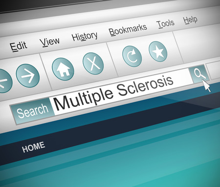 Illustration depicting a screenshot of an internet search with a Multiple Scerosis concept. Archivio Fotografico