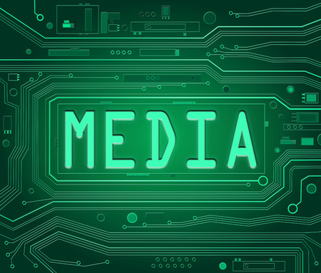 Abstract style illustration depicting printed circuit board components with a media concept. illustration