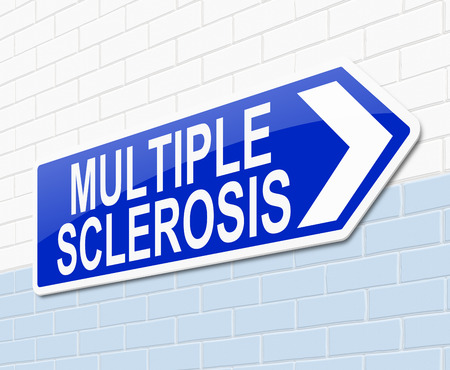 Illustration depicting a sign with a Multiple Sclerosis concept. illustration