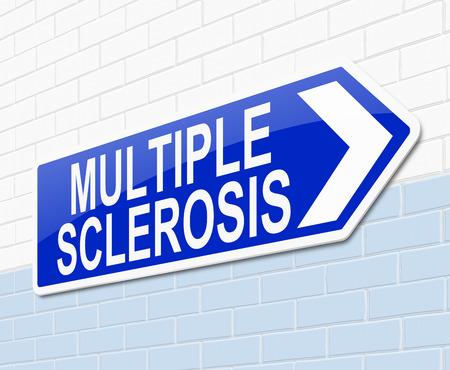 sistema nervioso central: Ilustración que muestra una señal con un concepto de la esclerosis múltiple. Foto de archivo