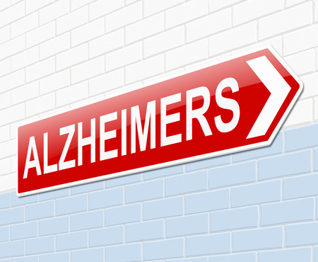 degenerative: Illustration depicting a sign with an Alzheimers concept. Stock Photo