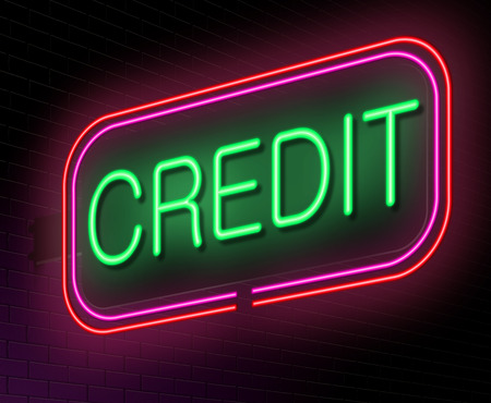 Illustration depicting an illuminated neon sign with a credit concept. Stock Illustration - 26911258