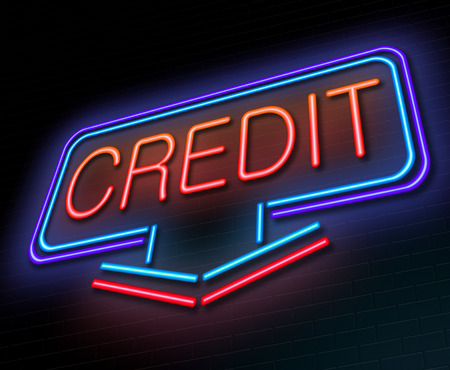 loaning: Illustration depicting an illuminated neon sign with a credit concept.