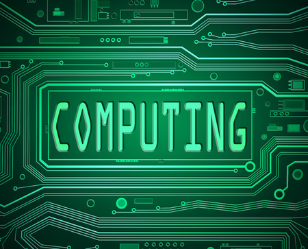 cybernetics: Abstract style illustration depicting printed circuit board components with a computing concept.