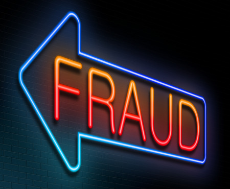 fraudster: Illustration depicting an illuminated neon sign with a fraud concept.