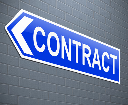 contractual: Illustration depicting a sign with a contract concept. Stock Photo