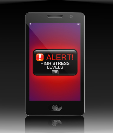 hassle: Illustration depicting a phone with a stress alert concept.